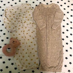 2 CARTERS sleepers with mitts 100% cotton